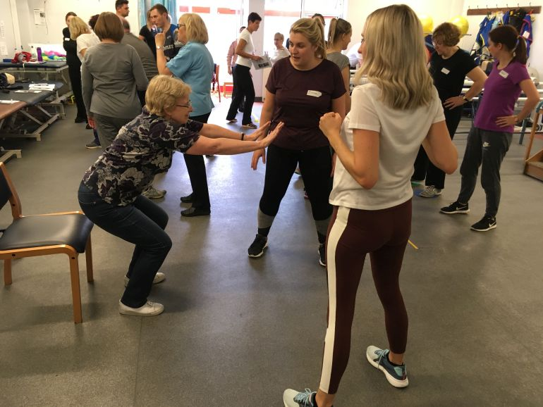An exercise class for people with Parkinson's disease